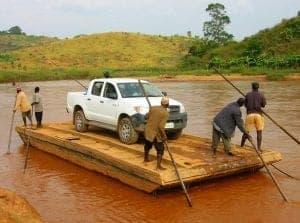 Merrett Surveys like to travel - river crossing in Cameroon