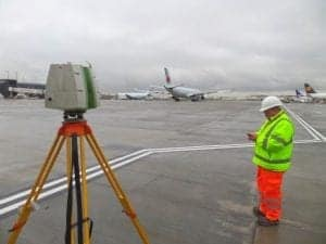 Scan to BIM and for topographical survey at London Heathrow Airport