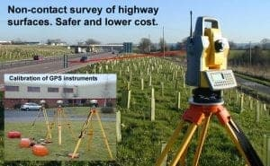Reflectorless survey of highway surface improves safety