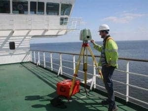 Laser scanning on board cable laying ship for coordination of navigation aids
