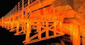 Laser scan and 3d modelling of timber railway bridge